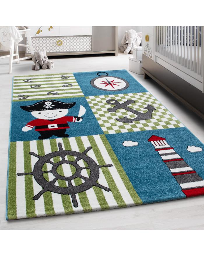 Kinderteppich Kinderzimmer Pirat Muster Kurzflor Pflegeleicht Blau Grün Weiss