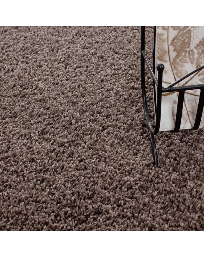 Hochflor Langflor Wohnzimmer DREAM Shaggy Teppich Unifarbe Florhöhe 5cm Taupe