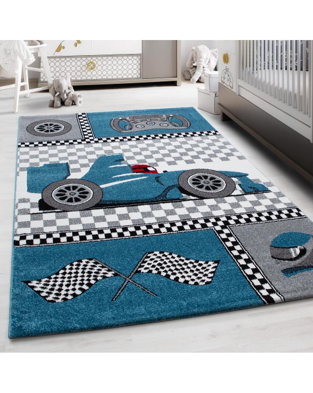 Kinderteppich Kinderzimmer Rennwagen Formel 1 Muster Blau Grau Weiß Schwarz  Größe 80x150 cm
