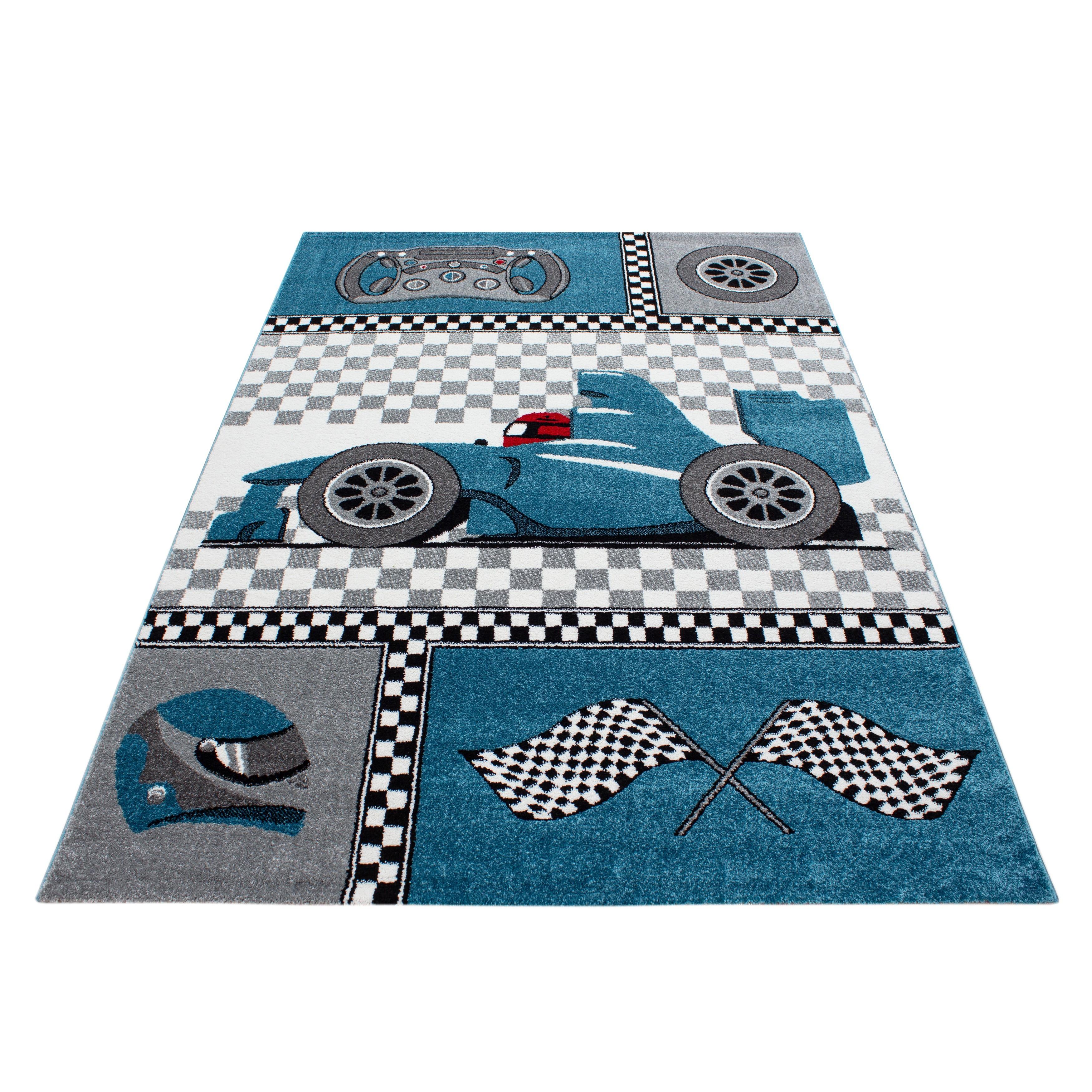 Zimmer Grau Blau: Kinderteppich Kinderzimmer Rennwagen Formel 1 Muster Blau