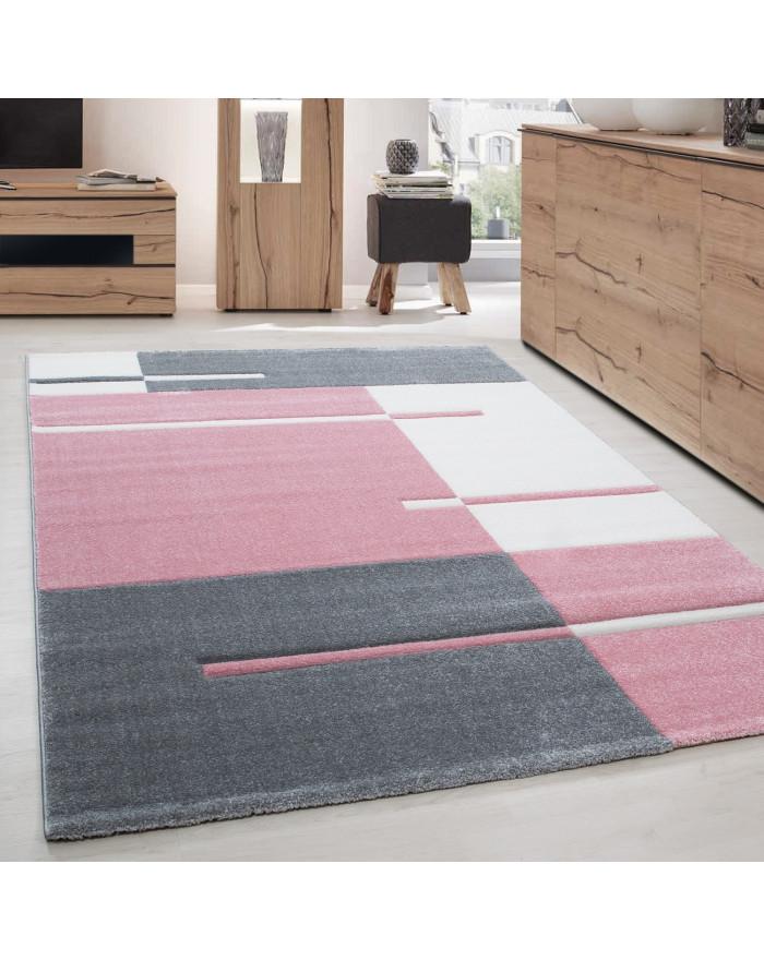 Moderner Designer Konturenschnitt 3D Wohnzimmer Teppich Hawaii 1310 Pink