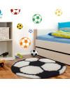 Kinderteppich für Kinderzimmer Fussball form Schwarz-Weiss
