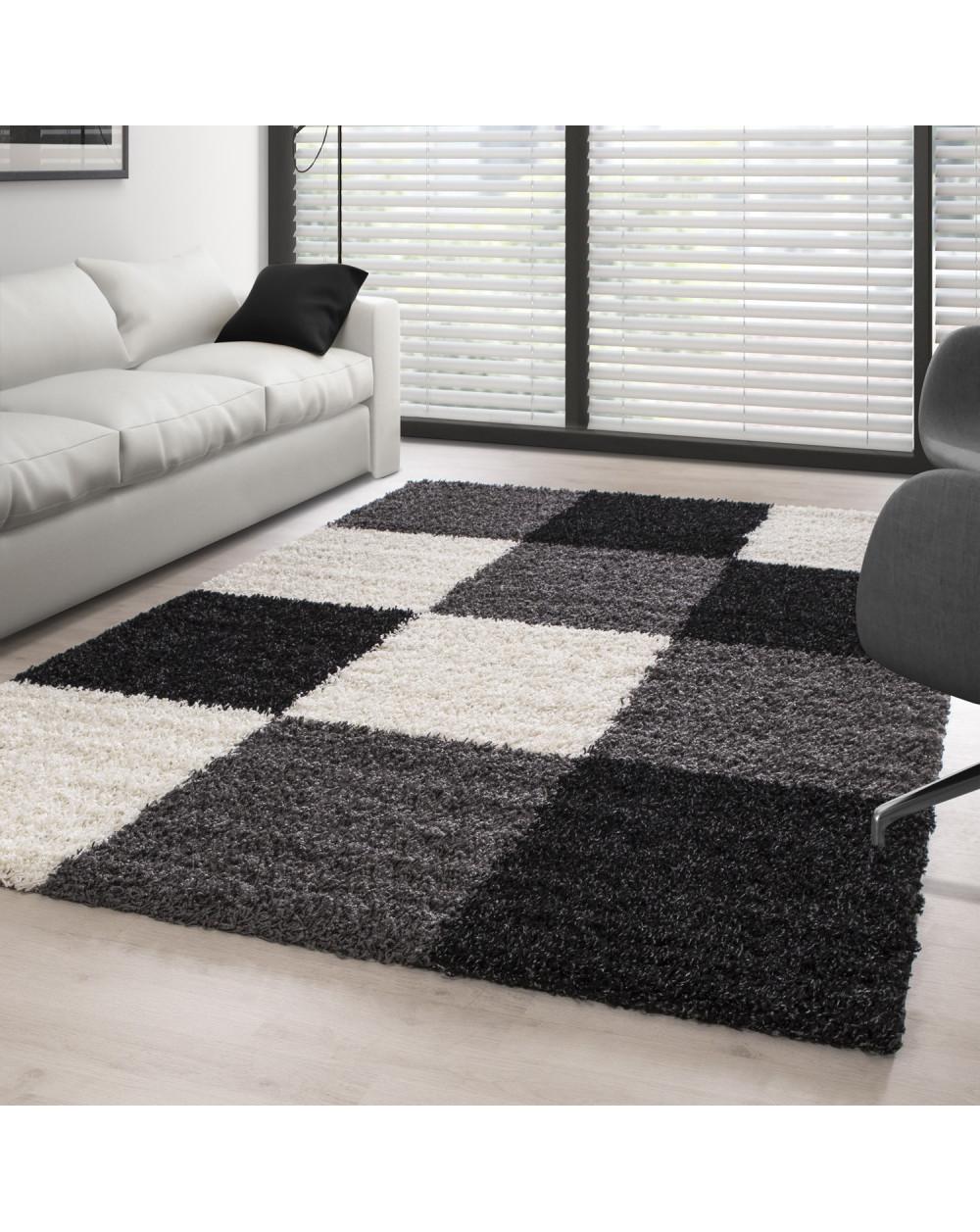 Teppich Hochflor Langflor Wohnzimmer günstig Shaggy kariert Schwarz Weiss  Grau Größe 60x110 cm