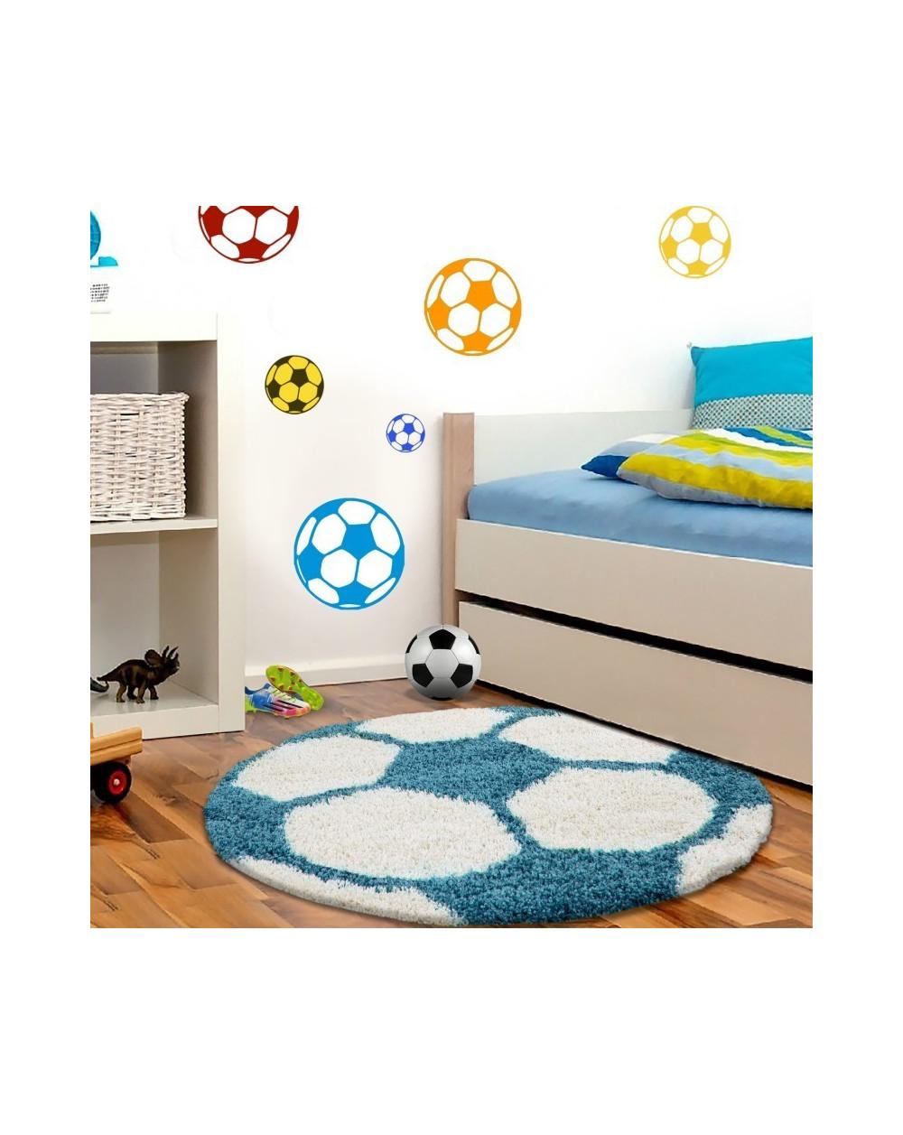 Kinderteppich für Kinderzimmer Fussball form Hochflor Teppich Türkis-Weiss  Größe 100x100 cm Rund