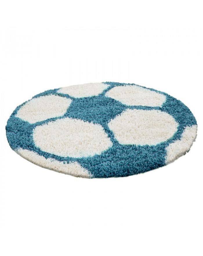 Kinderteppich für Kinderzimmer Fussball form Hochflor Teppich Türkis-Weiss