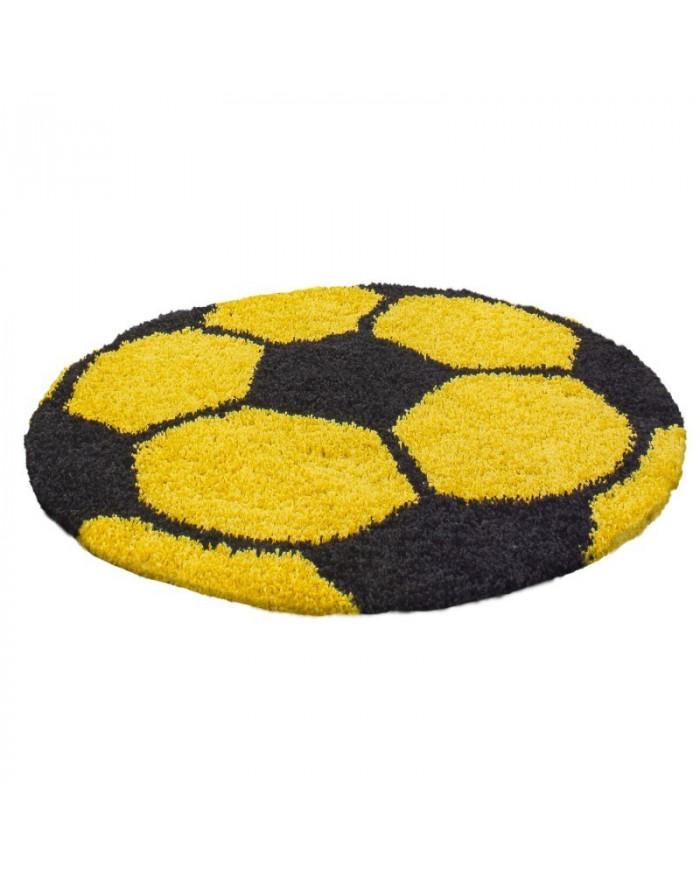Kinderteppich für Kinderzimmer Fussball form Hochflor Teppich Gelb-Schwarz