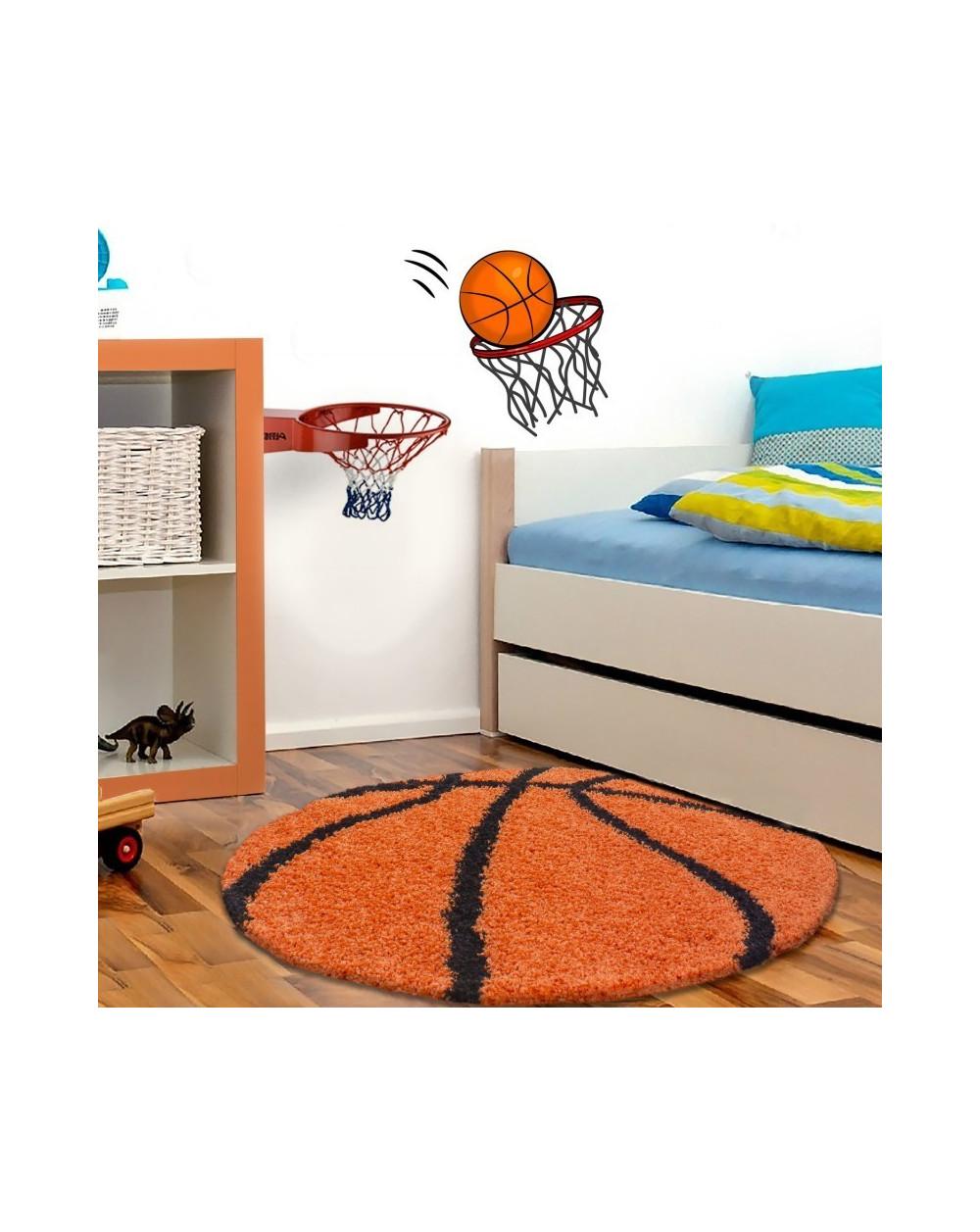 Kinderteppich für Kinderzimmer Basketball form Hochflor Teppich Orange-Schwarz
