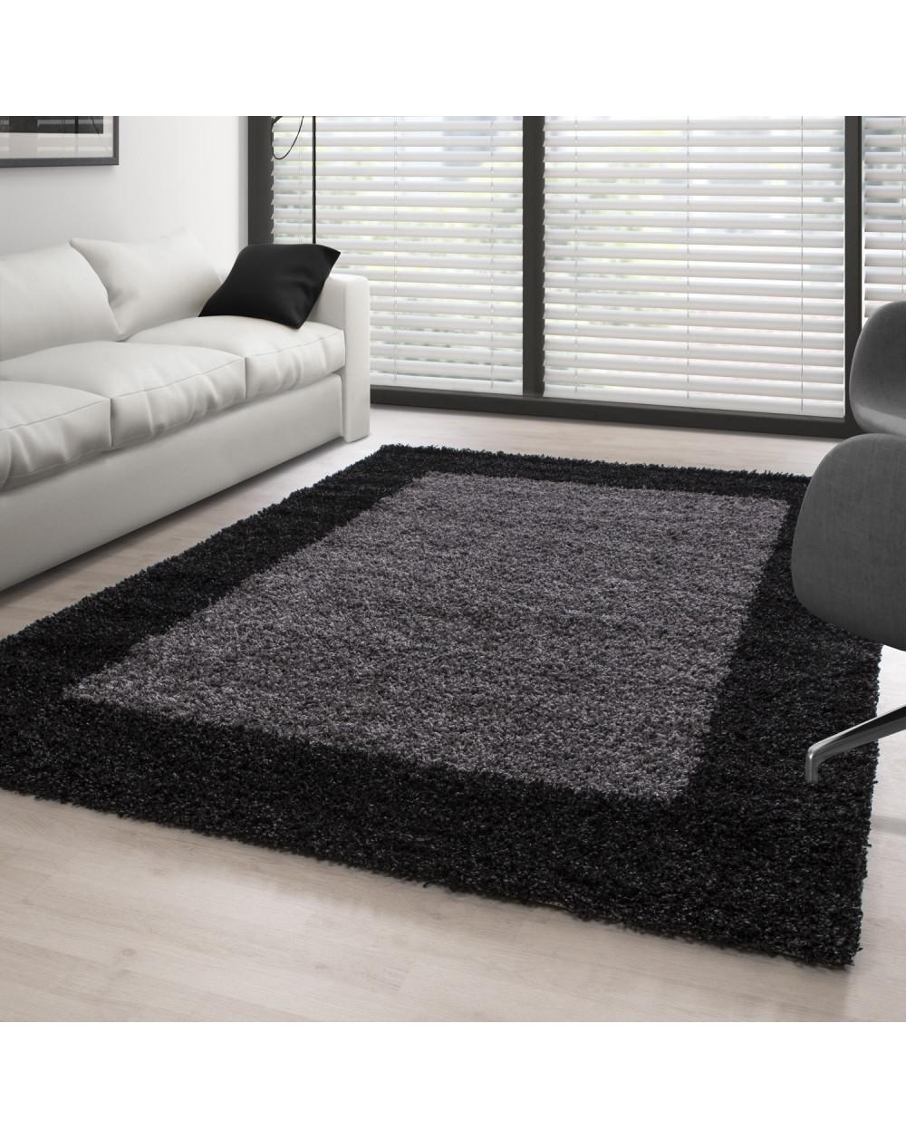 Hochflor Langflor Wohnzimmer Shaggy Teppich 2 Farbig Florhöhe 3cm Anthrazit Grau verschiedene Größen