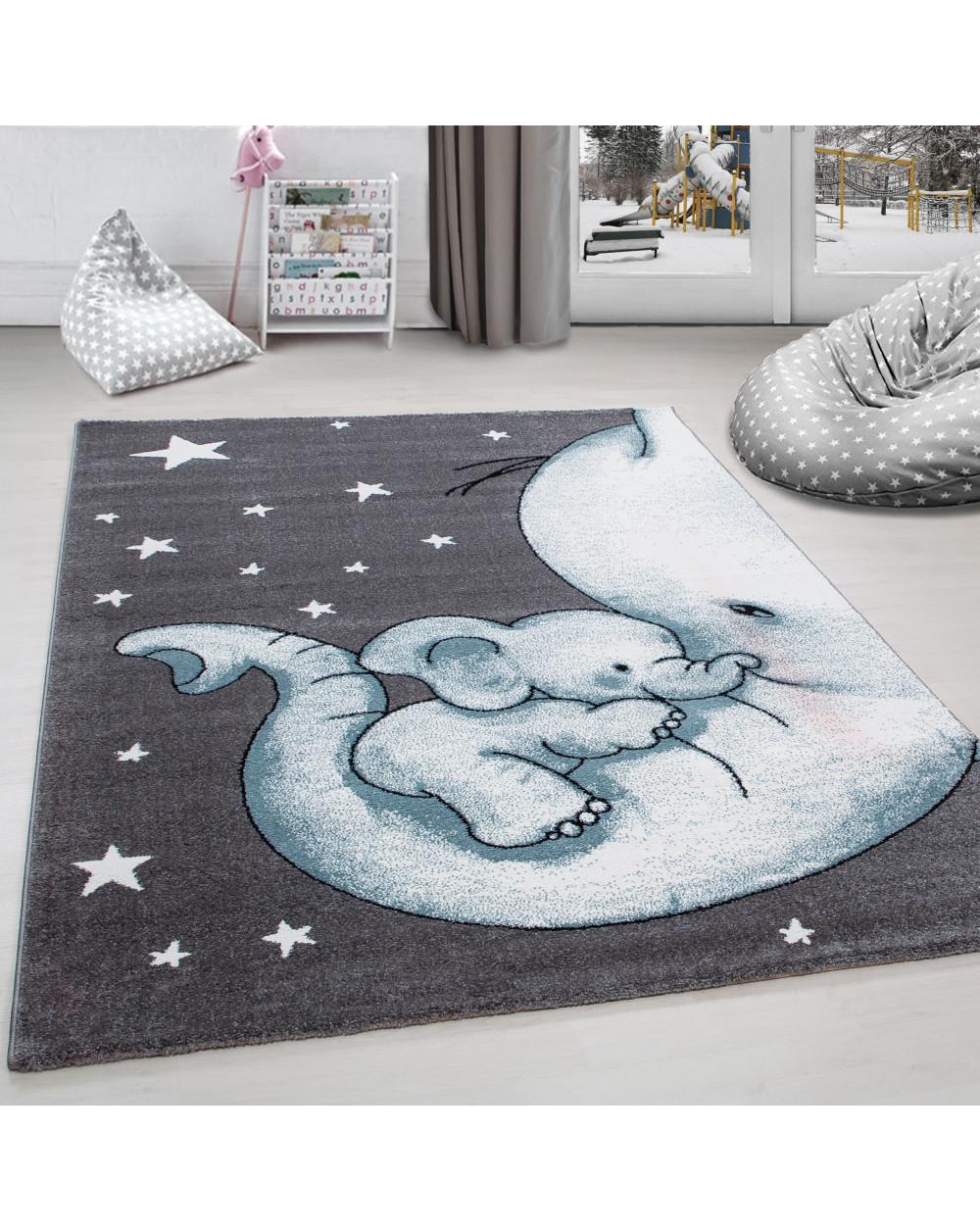 Kinderteppich Kinderzimmer Teppich niedlicher Elefantenbaby Stern  Grau-Weiß-Blau Größe 80x150 cm