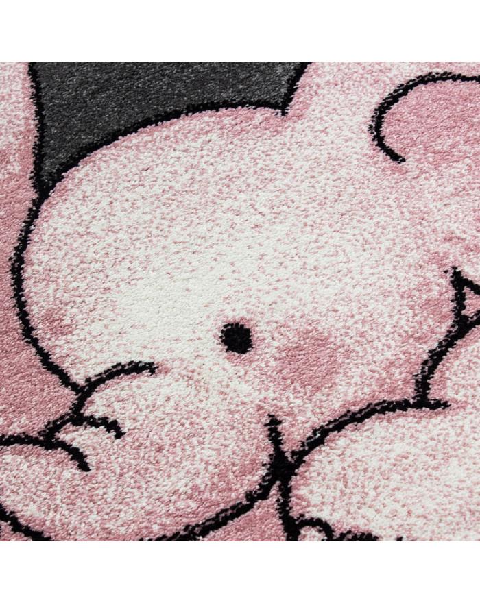 Kinderteppich Kinderzimmer Teppich Elefant Sternmotiv Grau-Weiß-Pink