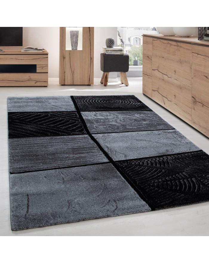Moderner Designer Wohnzimmer Teppich Holzmotiv Baumstamm LIMA 1940 Grau-Schwarz