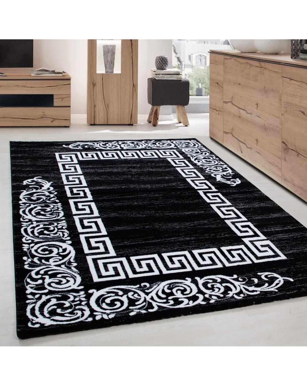 Moderner Designer Elegance Wohnzimmer Teppich Miami 6620 Schwarz-Weiss  Größe 80x150 cm