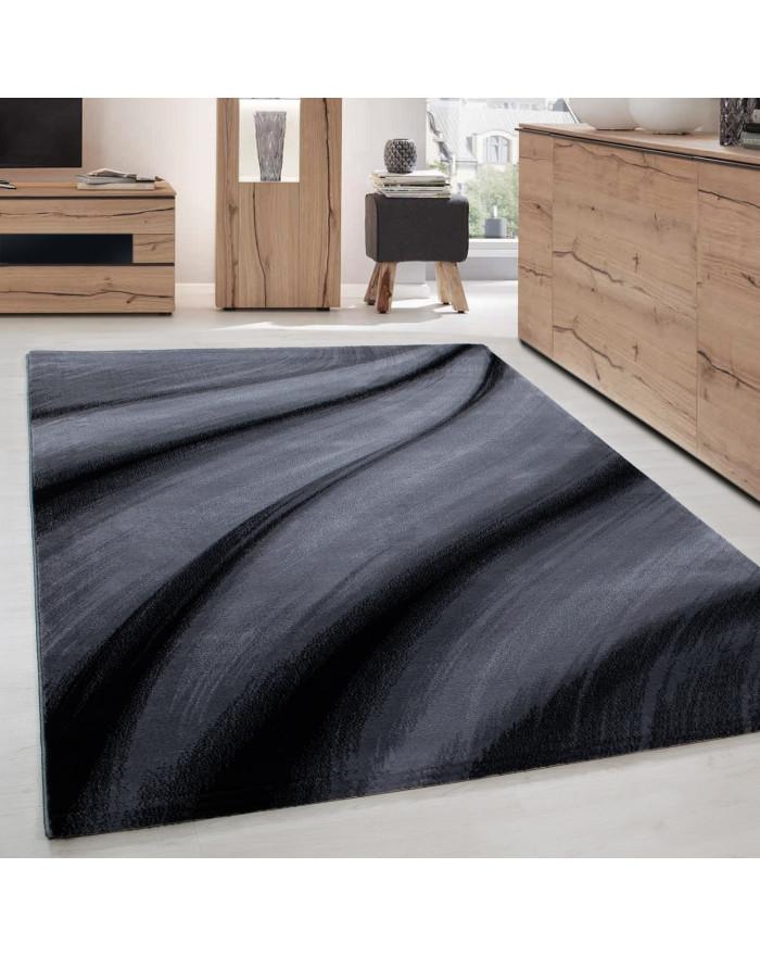 Moderner Designer Wohnzimmer Teppich Wellendesign Miami 6630 Schwarz-Grau