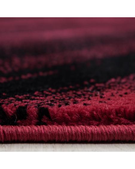 Moderner Designer Wohnzimmer Teppich Wellendesign Miami 6630 Rot-Schwarz