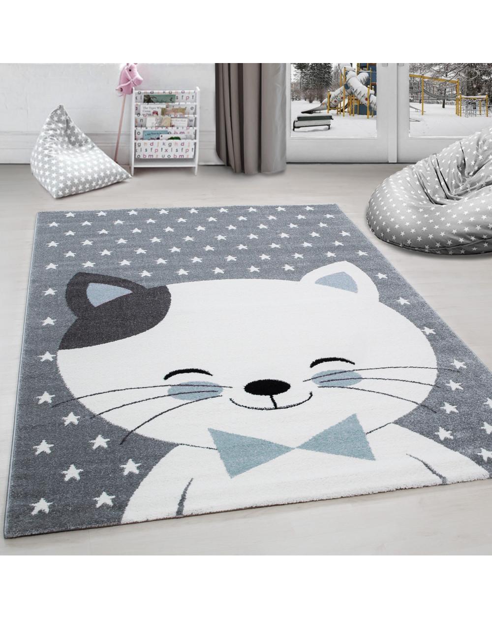 Kinderteppich Kinderzimmer Teppich Katze Sternmotiv Grau-Weiß-Blau Größe  80x150 cm