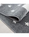 Kinderteppich Kinderzimmer Teppich Katze Sternmotiv Grau-Weiß-Blau