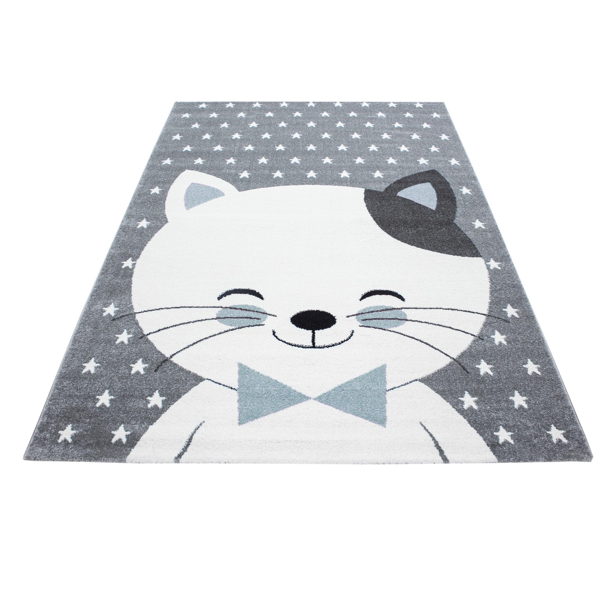 Zimmer Grau Blau: Kinderteppich Kinderzimmer Teppich Katze Sternmotiv Grau