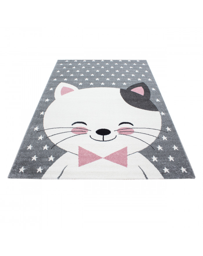 Kinderteppich Kinderzimmer Teppich Katze Sternmotiv Grau-Weiß-Pink