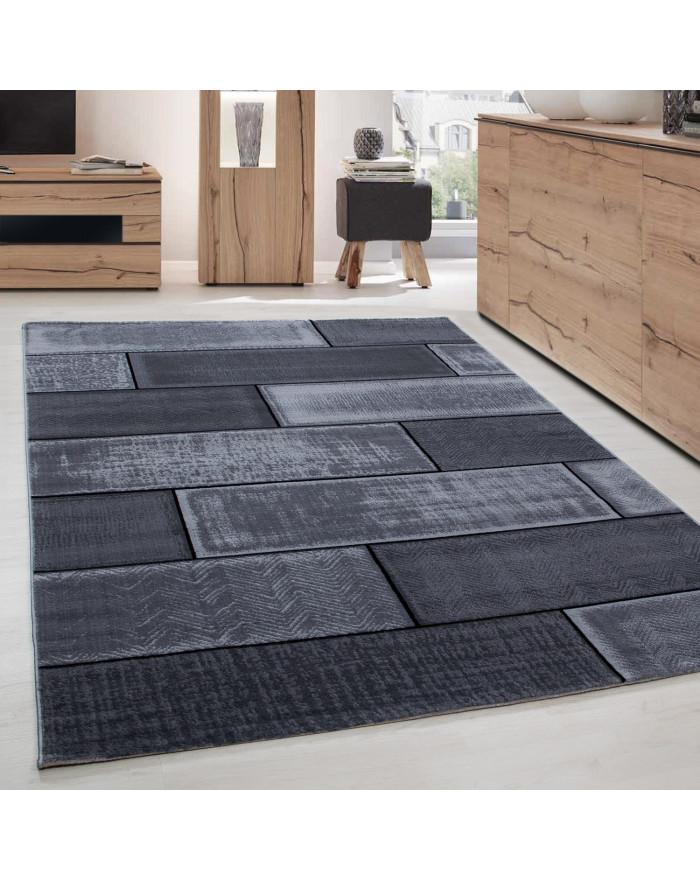 Moderner Wohnzimmer Mauerstein designer Teppich Kurzflor Schwarz Grau