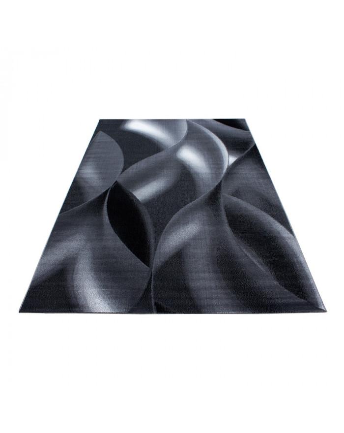 Moderner Wohnzimmer Wellenmotiv designer Teppich Kurzflor Schwarz Grau
