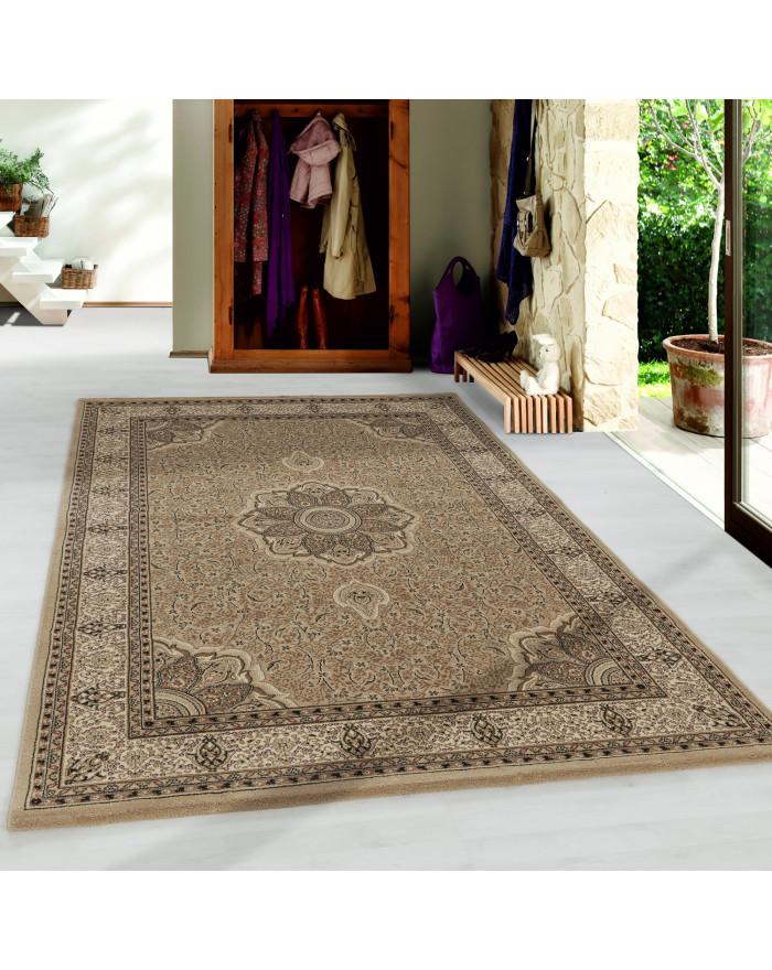 Wohnzimmer Teppich Kurzflor Design Orient Teppich Klassik Ornament Bordüre Beige