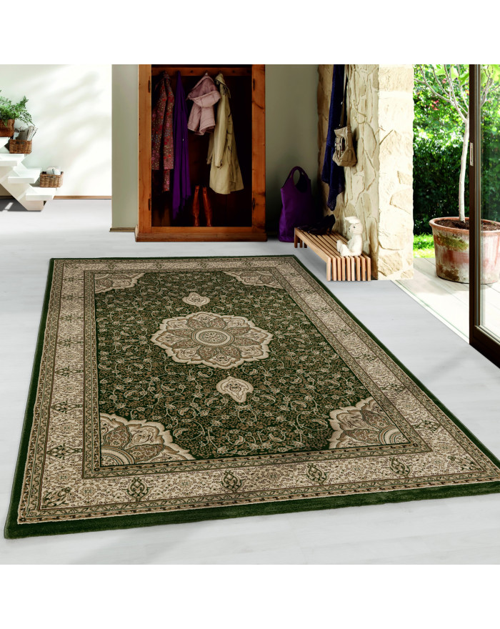 Wohnzimmer Teppich Kurzflor Design Orient Teppich Klassik Ornamente Bordüre Grün