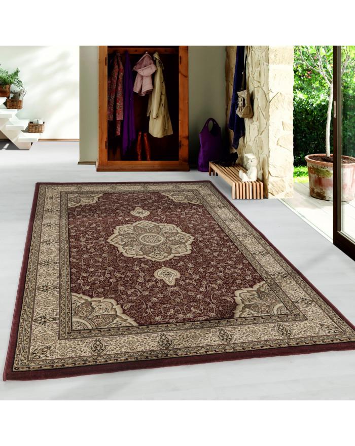 Wohnzimmer Kurzflor Teppich Design Orient Teppich Klassik Ornamente Bordüre Rot