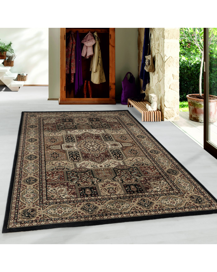 Wohnzimmer Kurzflor Teppich Design Orient Teppich Klassik Antik Ornament Schwarz