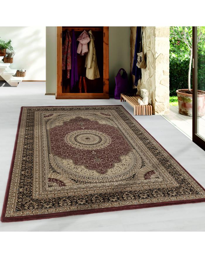 Wohnzimmer Kurzflor Teppich Design Orient Teppich Klassik Antike Bordüre Rot