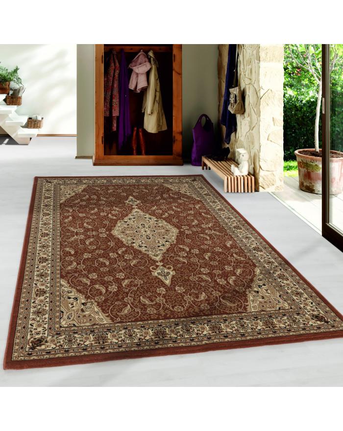 Wohnzimmer Kurzflor Teppich Design Orient Teppich Klassik Antike Bordüre Terra