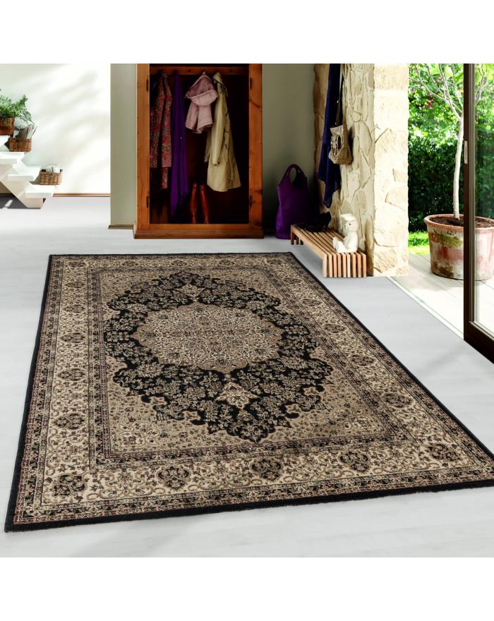 Kurzflor Teppich Klassik Design Orient Antike Nain Wohnzimmer Teppich Schwarz