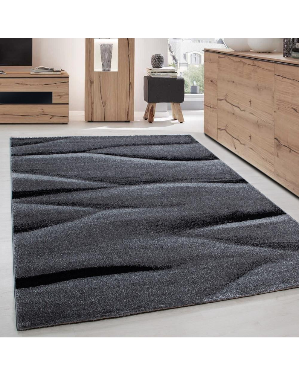 Teppich Modern Designer Wohnzimmer Abstrakt Wellen Muster Grau Schwarz  Größe 80x150 cm