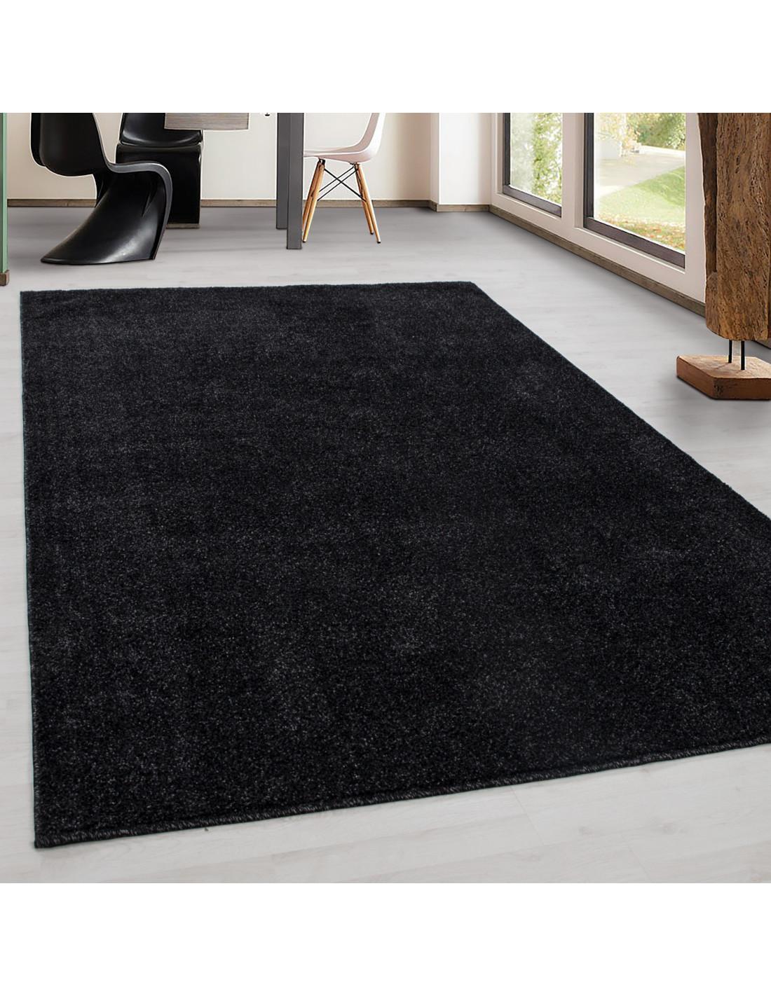 Teppich Kurzflor Modern Wohnzimmer Einfarbig Meliert Uni günstig ANTHRAZIT
