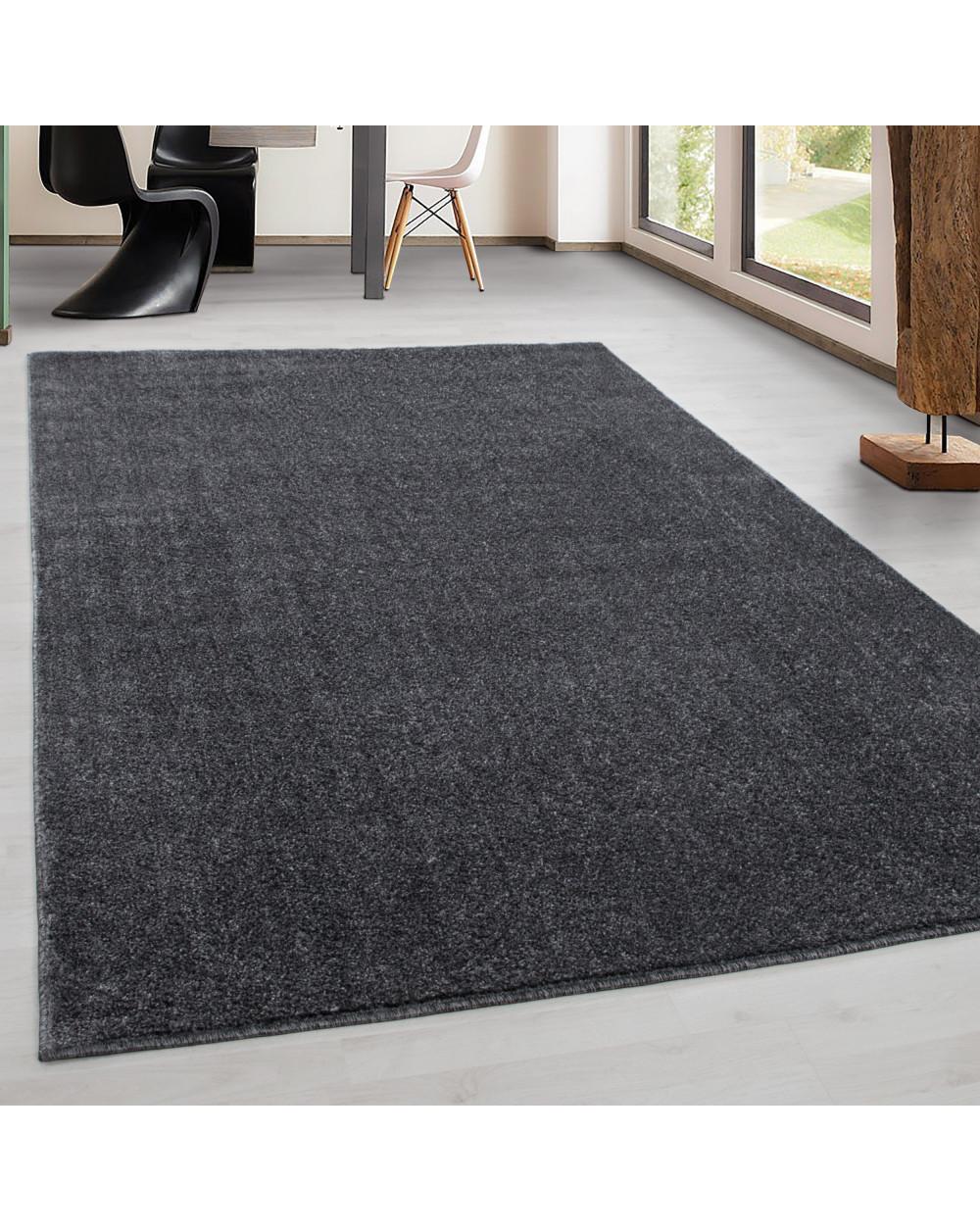 Teppich Kurzflor Modern Wohnzimmer Einfarbig Meliert Uni günstig Grau