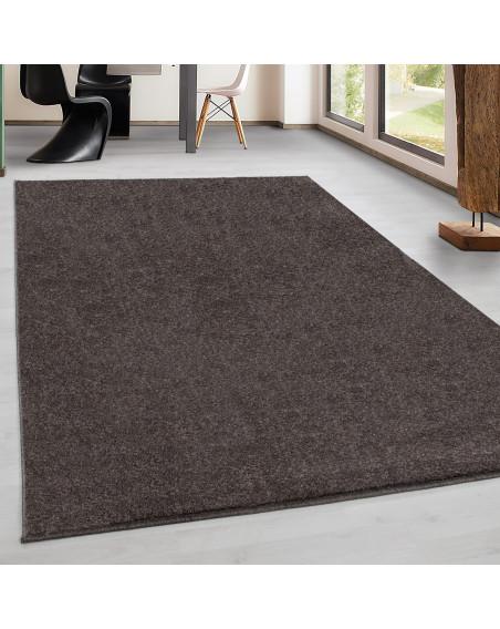 Teppich Kurzflor Modern Wohnzimmer Einfarbig Meliert Uni günstig Mocca