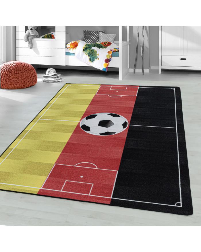 Kurzflor Kinderteppich Spielteppich Teppich Fussball Deutschland Rot