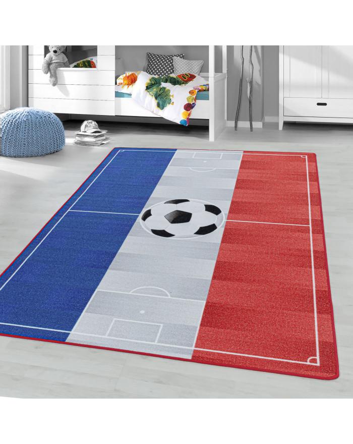 Kurzflor Teppich Kinderteppich Kinderzimmer Spielteppich Fussball Frankreich BlauGelb