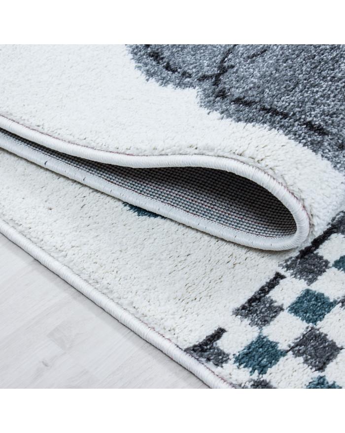 Kinderteppich Kinderzimmer Teppich Elefant Sternmotiv Grau-Weiß-Blau