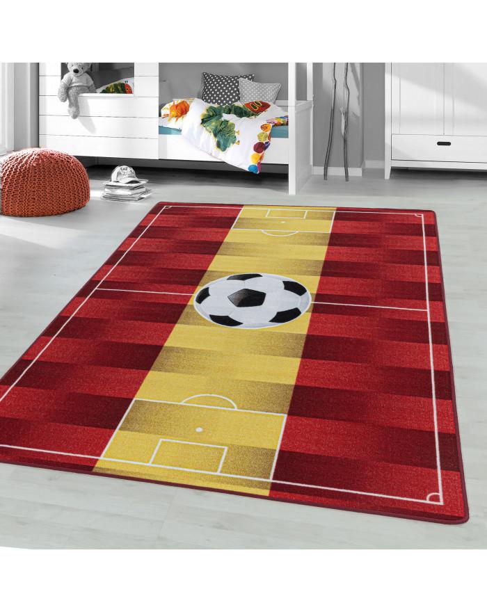 Kurzflor Teppich Kinderteppich Kinderzimmer Spielteppich Fussball Spanien Gelb