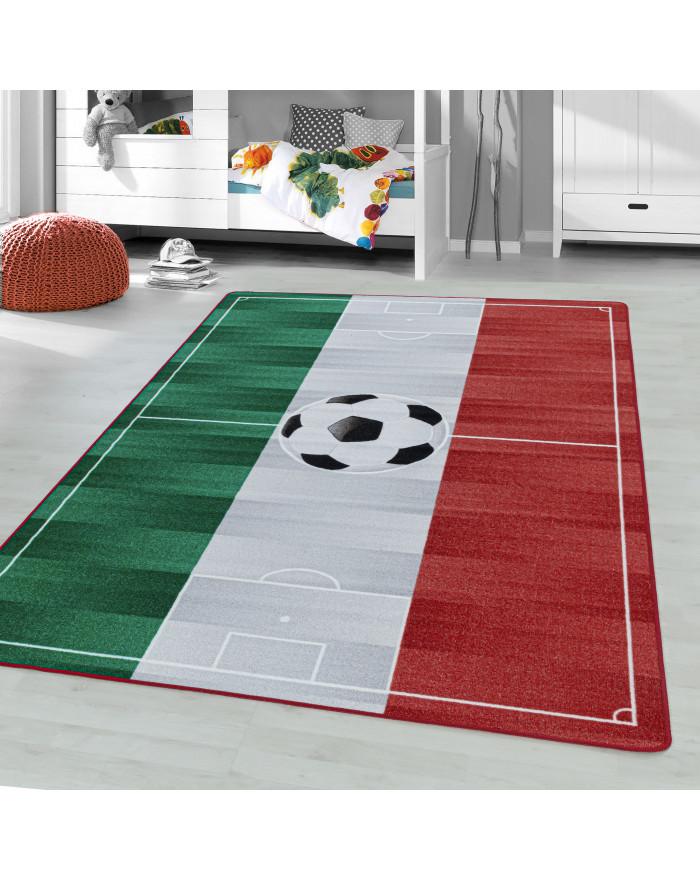Kurzflor Teppich Kinderteppich Kinderzimmer Spielteppich Fussball Italien Weiss