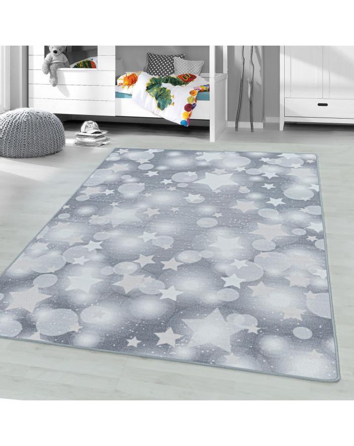 Kurzflor Teppich Kinderteppich Kinderzimmer Spielteppich Sterne Punkte Grau