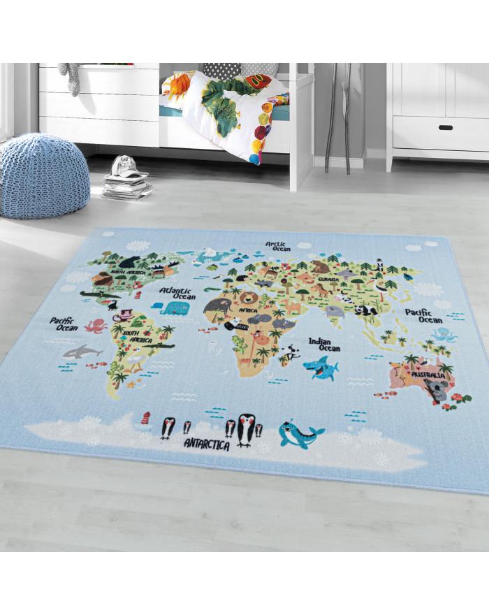 Kurzflor Teppich Kinderteppich Kinderzimmer Spielteppich Weltkarte Tiere Weiss