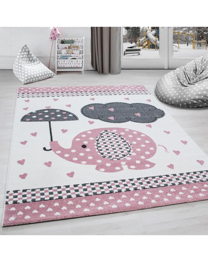 Kinderteppich Kinderzimmer Teppich Elefant Herzregen Grau-Weiß-Pink