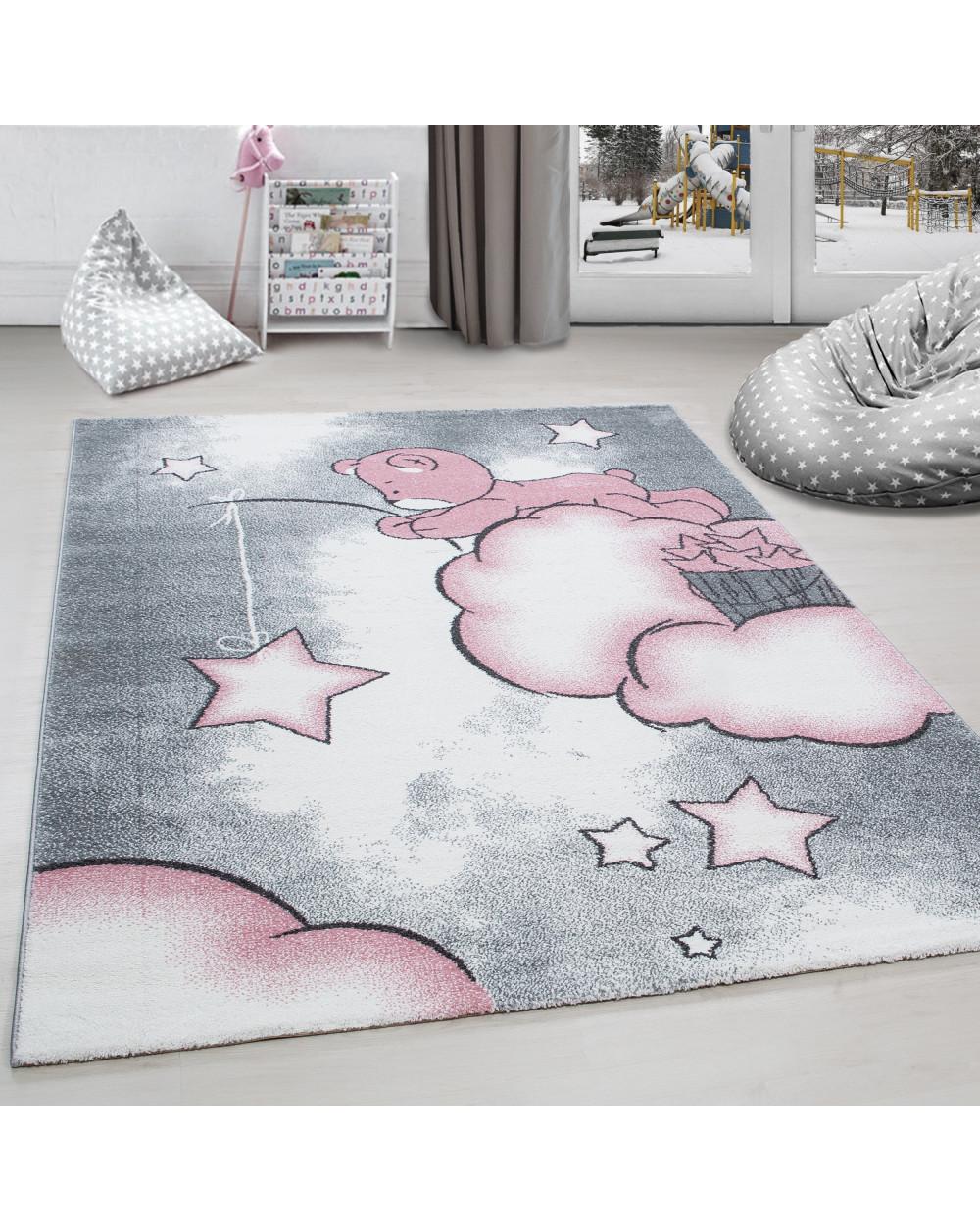 Kinderteppich Kinderzimmer Teppich Bär Wolken Stern-Angeln Grau-Weiß-Pink  Größe 80x150 cm
