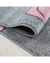 Kinderteppich Kinderzimmer Teppich Bär Wolken Stern-Angeln Grau-Weiß-Pink