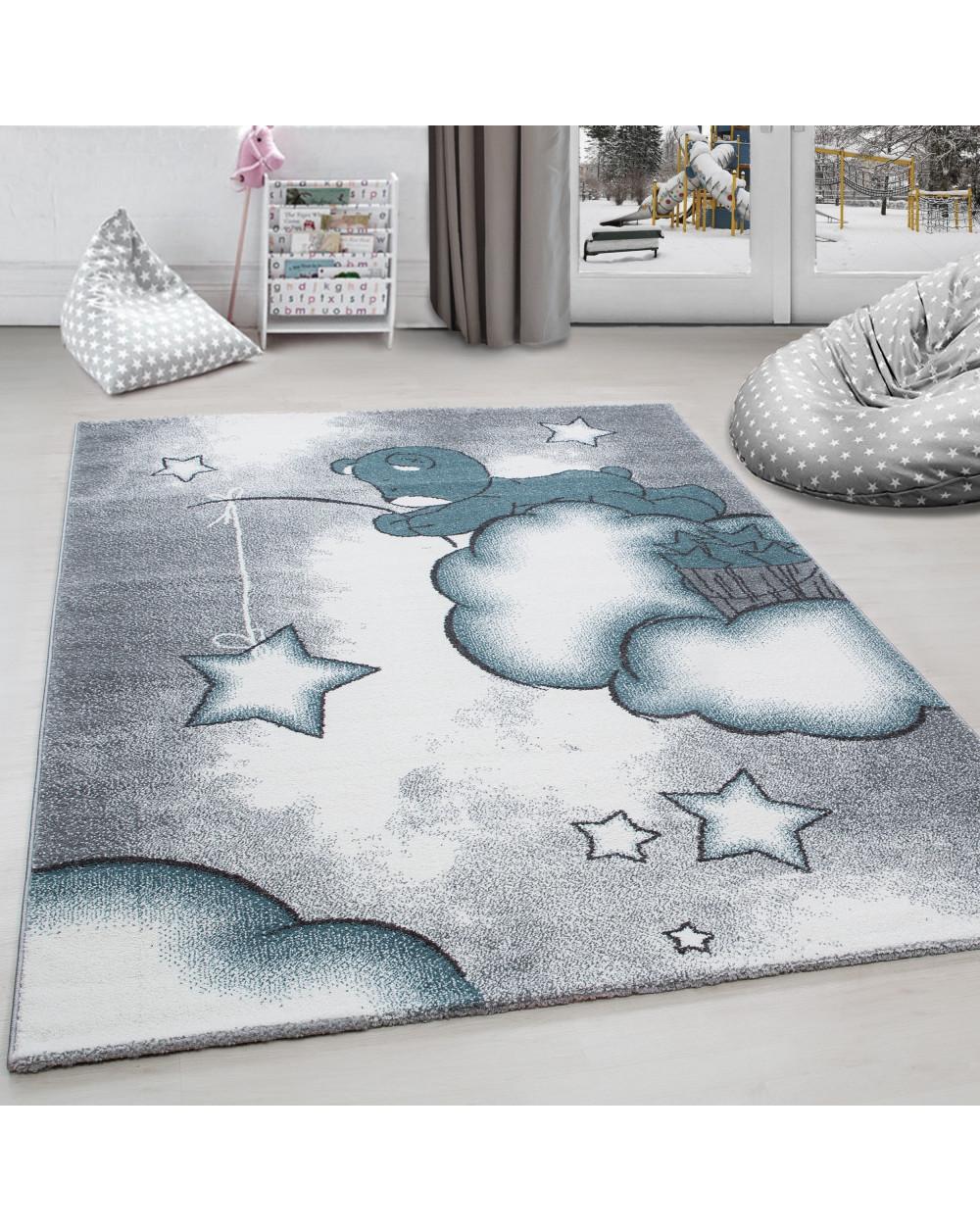 Kinderteppich Kinderzimmer Teppich Bar Wolken Stern Angeln Grau Weiss Blau Grosse 80x150 Cm