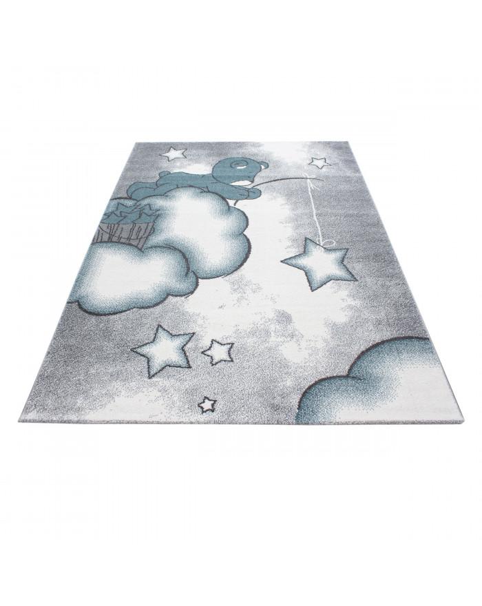 Kinderteppich Kinderzimmer Teppich Bär Wolken Stern Angeln Grau Weiß Blau