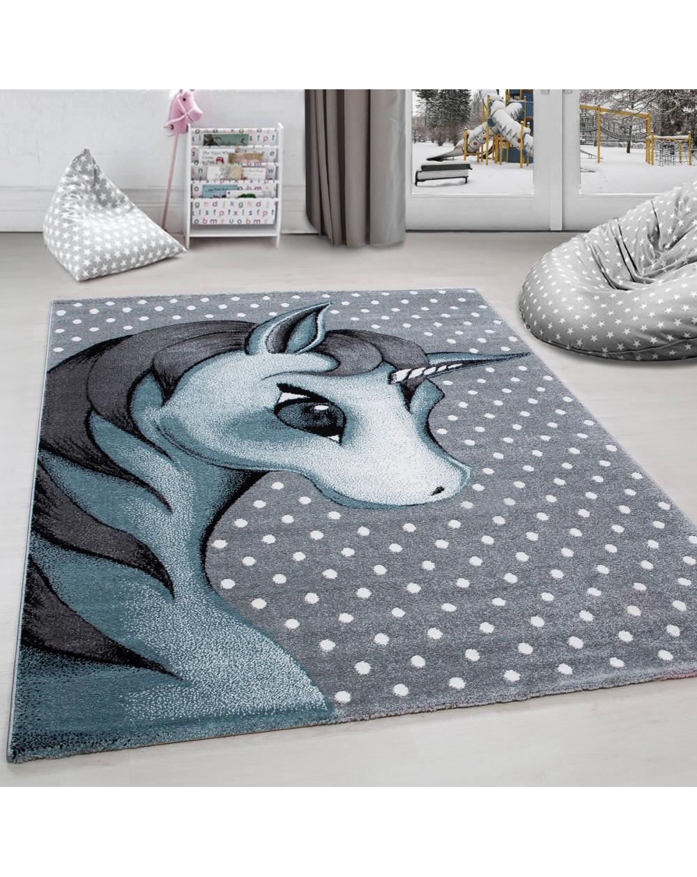 Kinderteppich Kinderzimmer Teppich Einhorn Muster Grau Weiß Blau Größe 80x150 Cm