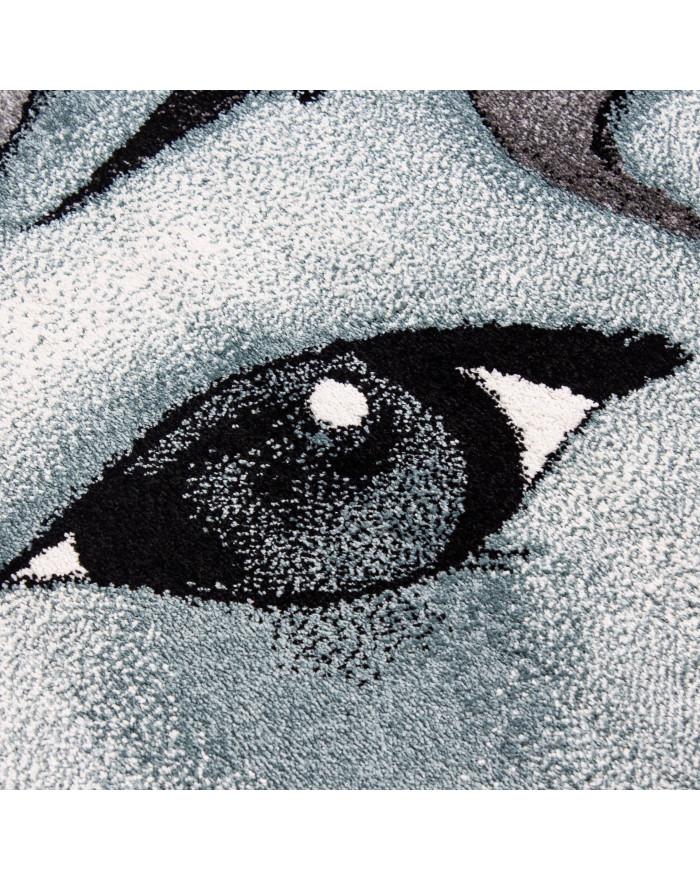 Kinderteppich Kinderzimmer Teppich Einhorn Grau-Weiß-Blau