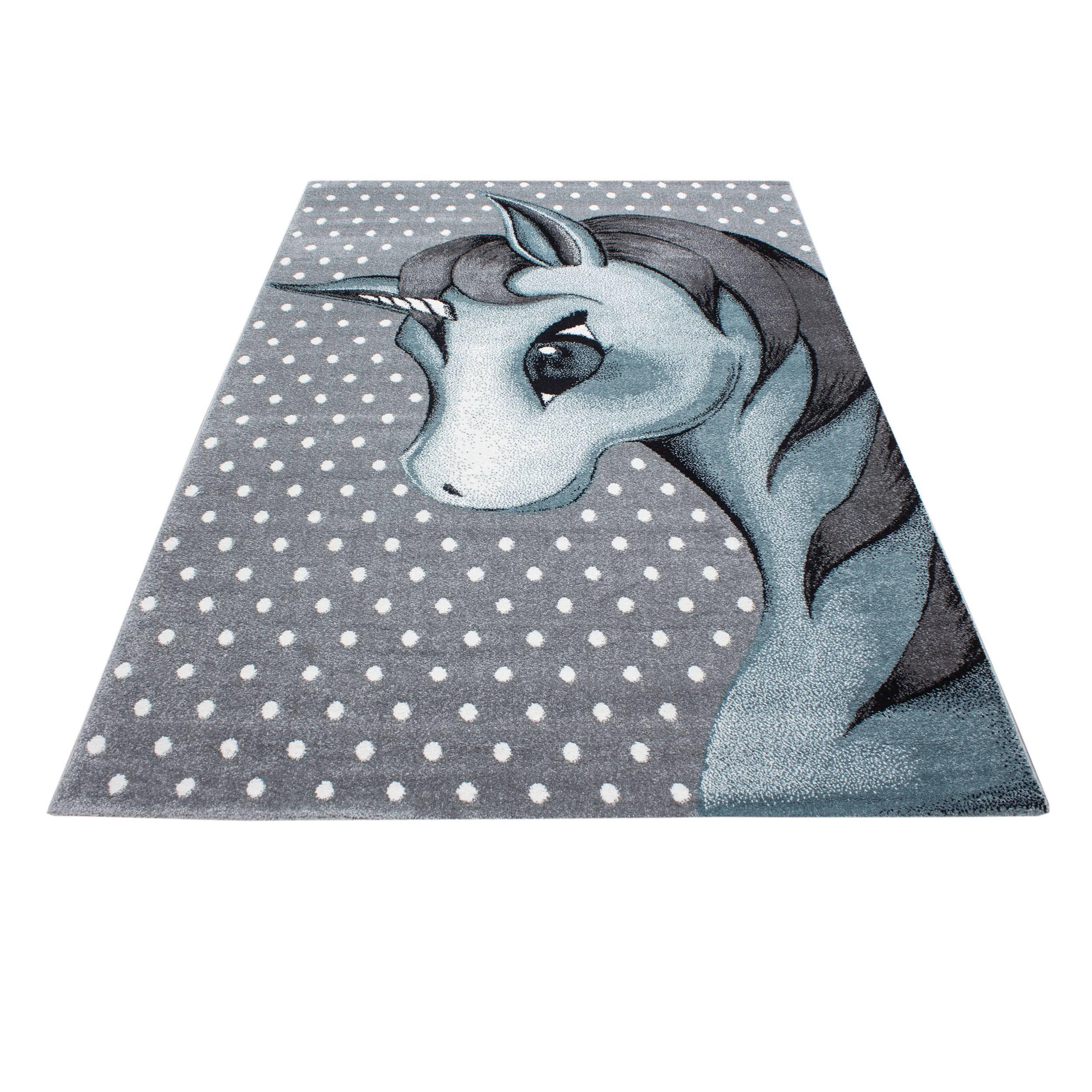 Zimmer Grau Blau: Kinderteppich Kinderzimmer Teppich Einhorn Muster Grau